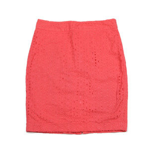 Forever 21 Size 6 Coral Cotton Eyelet Pencil Skirt
